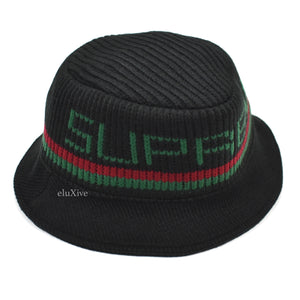 Supreme - Black 'Gucci' Stripe Knit Bucket Hat
