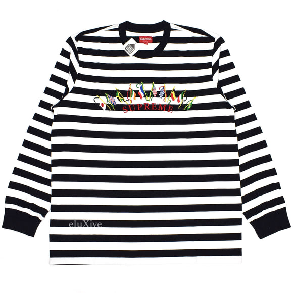 Supreme - Striped Flags Logo L/S T-Shirt