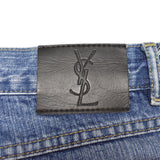 Yves Saint Laurent - YSL Logo Embroidered Denim Jeans