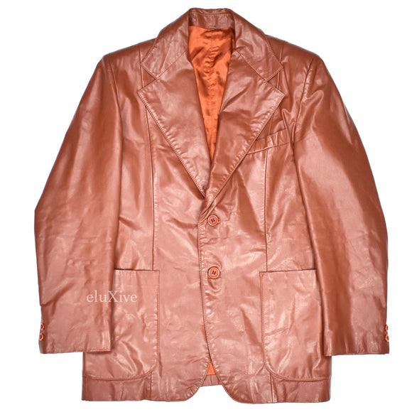 Yves Saint Laurent - 1970s Cognac Leather Blazer