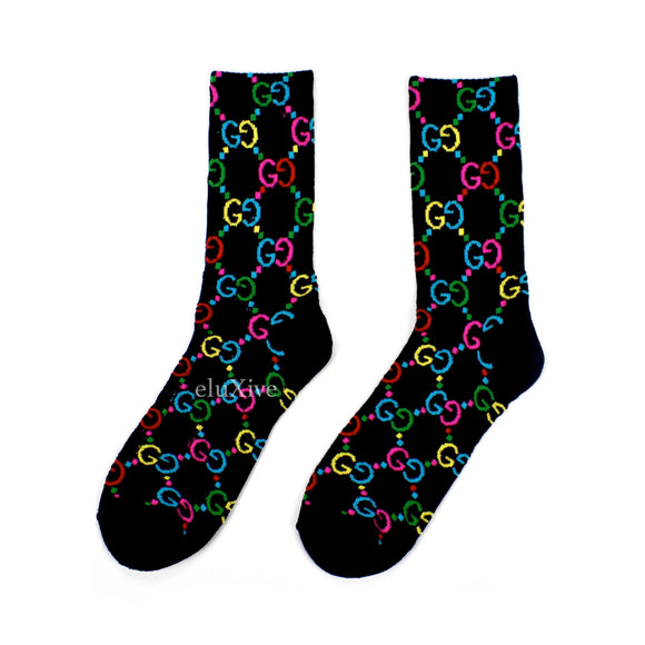 Imran Potato - Black/Rainbow 'Gucci' Knit Socks