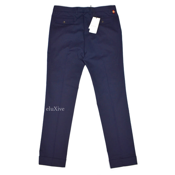 Gucci - Navy Bee Logo Tag Pants
