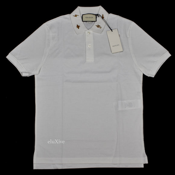 Gucci - Embroidered Collar Polo Shirt (White)