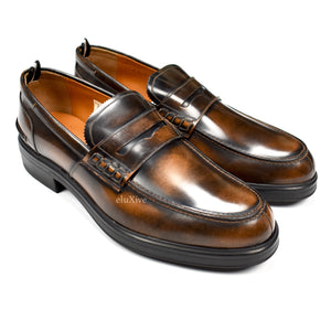 Bally - Brown Burnished Leather Penny Loafers