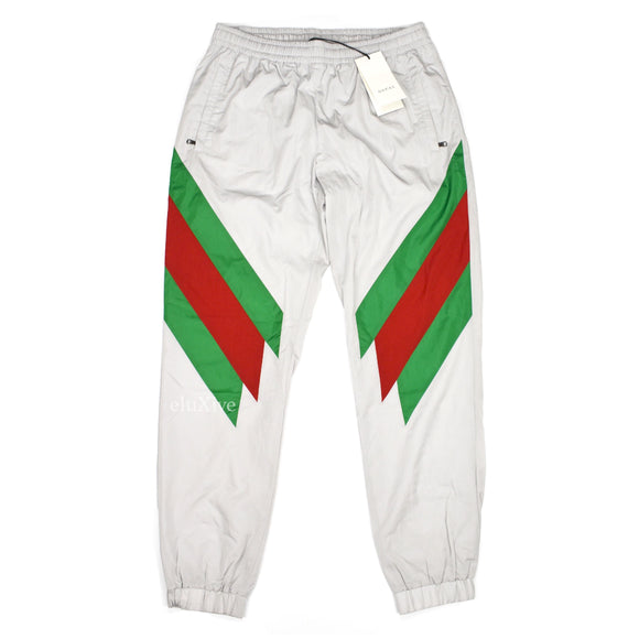 Gucci - Gray Web Stripe Logo Nylon Track Pants