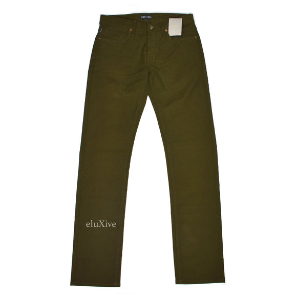 Tom Ford - Olive Brushed Twill Moleskin Pants