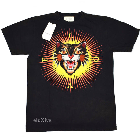 Gucci - Angry Cat Embroidered T-Shirt