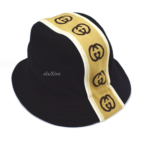 Gucci - Black GG Logo Panel Bucket Hat