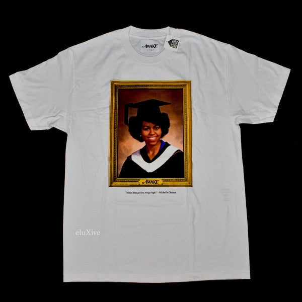 Awake NY - White Michelle Obama Portrait T-Shirt