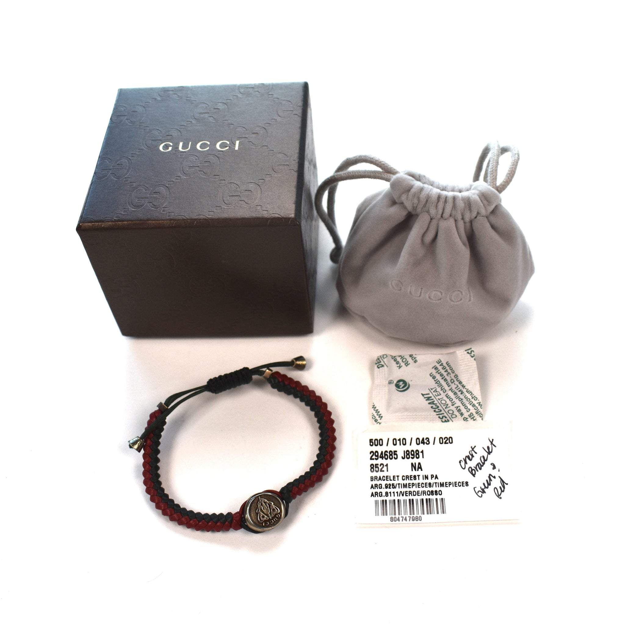 f7970264e Gucci - Red & Green Web Stripe Woven Leather Silver Ornament ...