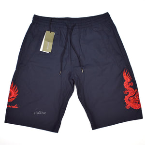 Maharishi - Navy Dragon Embroidered Shorts