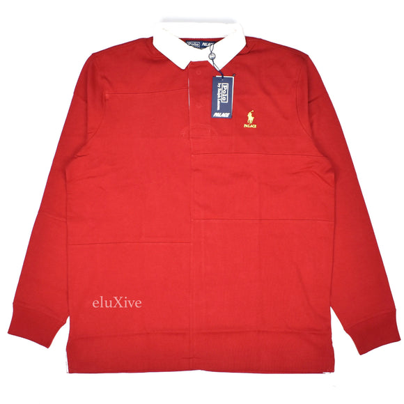 Palace x Ralph Lauren - Red Patchwork Rugby Shirt