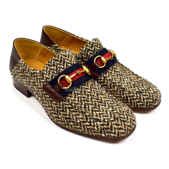 Gucci - Tweed Web Stripe Horsebit Loafers