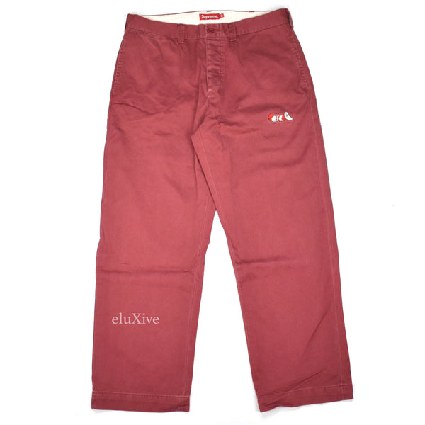 Supreme - Cat in the Hat Logo Pants (Burgundy)