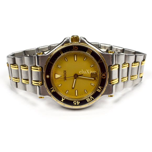 Gucci - 9700M Gold/Steel Black Bezel Watch