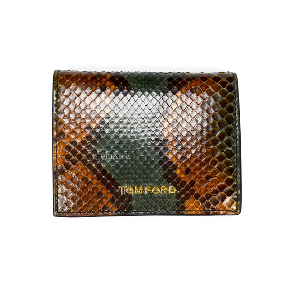 Tom Ford - Green / Brown Exotic Python Wallet