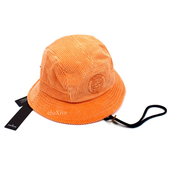 Supreme x Stone Island - Logo Embroidered Corduroy Bucket Hat (Orange)