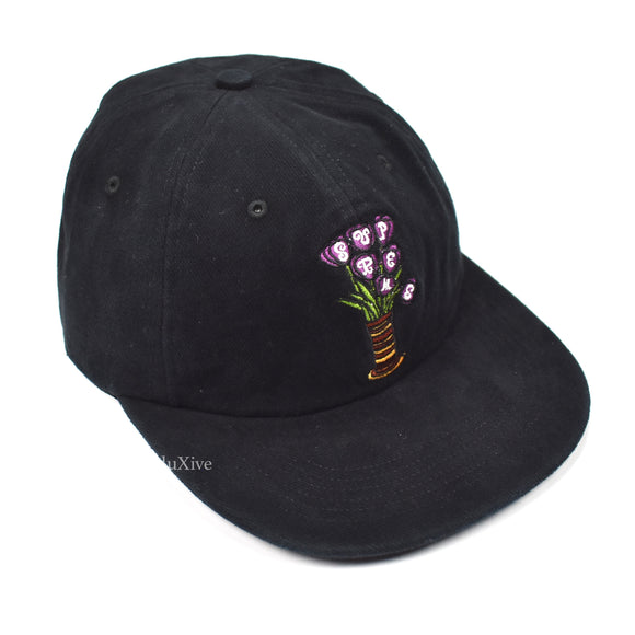 Supreme - Black Flowers Logo Hat