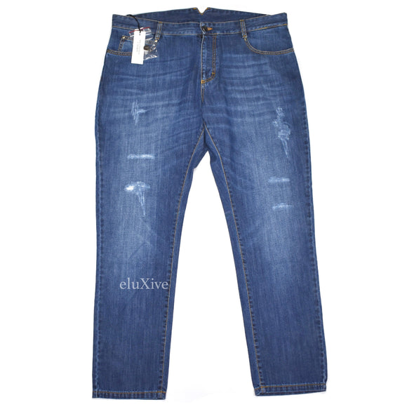 Versace - Dark Blue Distressed Denim Jeans
