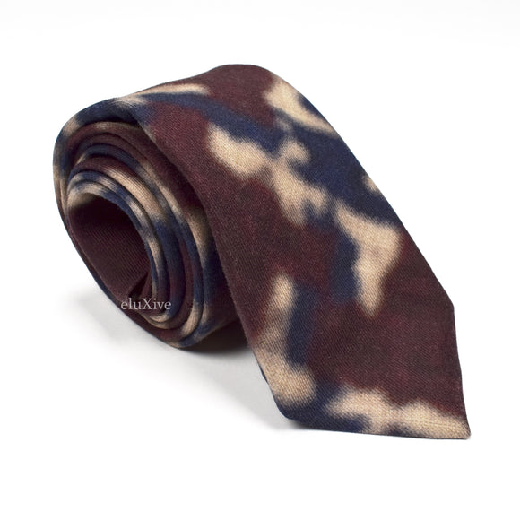 Isaia - Burgundy Watercolor Woven Wool Tie