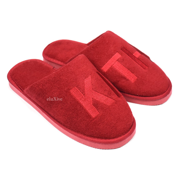 Kith - Logo Embroidered Spa Slippers (Red)