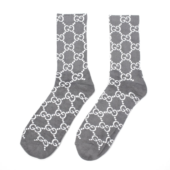 Imran Potato - Gray 'Gucci' Logo Knit Socks