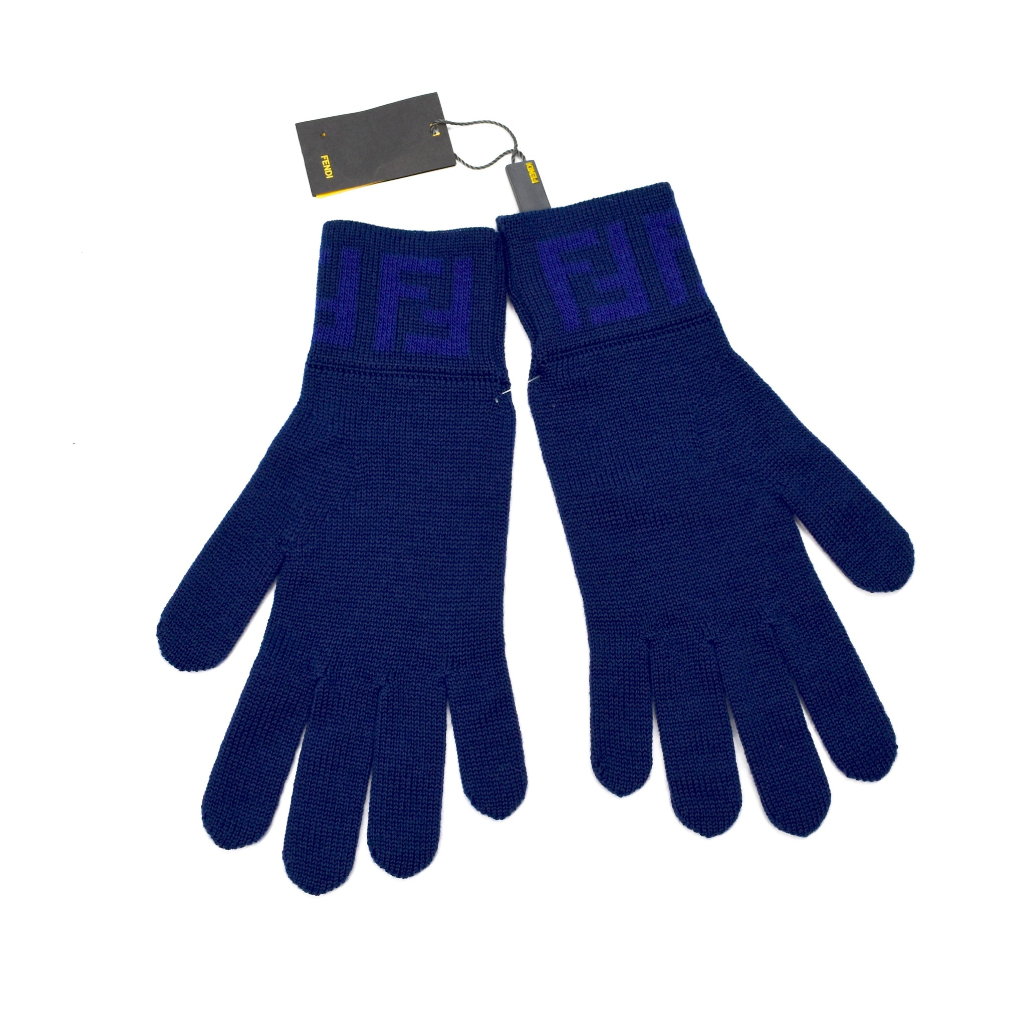 Fendi - Navy Blue Knit Gloves