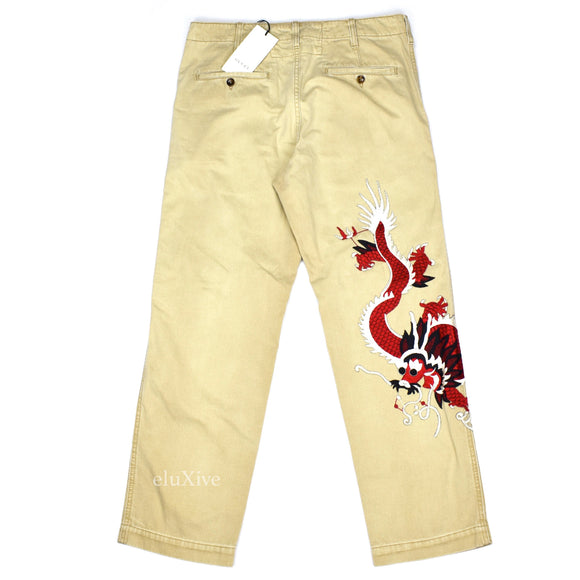 Gucci - Dragron Embroidered Chino Pants (Beige)