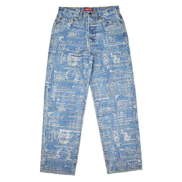 Supreme - Checks Embroidered Blue Denim Jeans