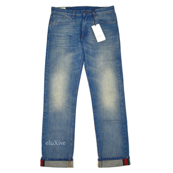 Gucci - Web Stripe Logo Jeans (Faded Blue)
