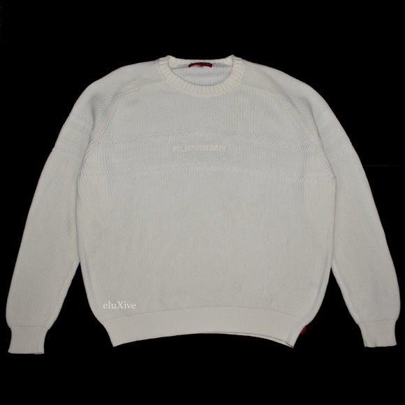Supreme - Tonal Logo Embroidered Sweater (White)