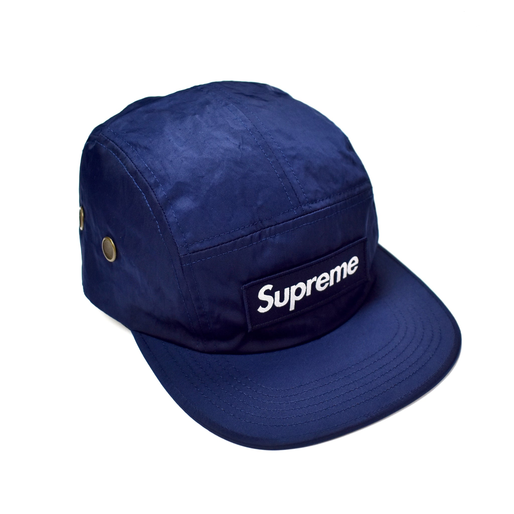 Supreme - Washed Nylon Navy Blue Box Logo Camp Cap Hat – eluXive a6423bc096a