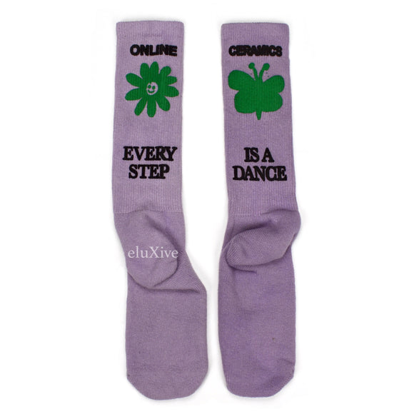 Online Ceramics - Bubble Print Logo Socks (Purple)