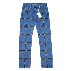 23115247d2 Moschino - Men's 'Couture!' Washed Blue Denim Logo Tape Jeans – eluXive