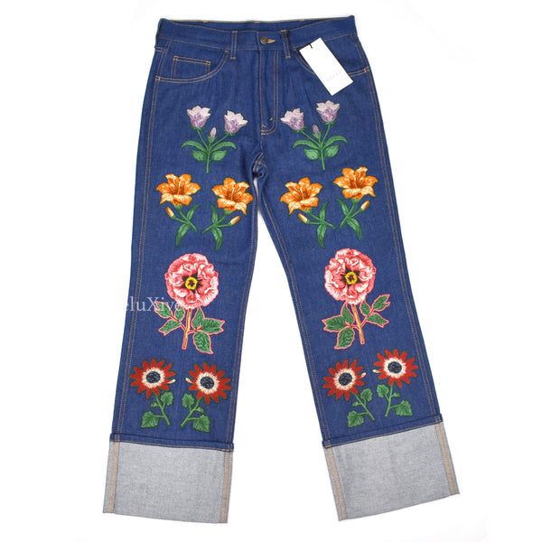 Gucci - Floral Patch Denim Jeans