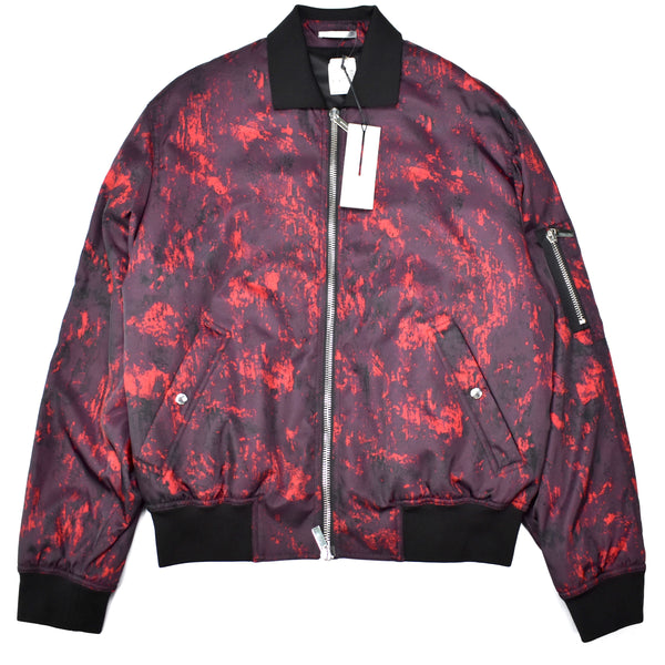 Dior - Red Abstract Print Bomber Jacket