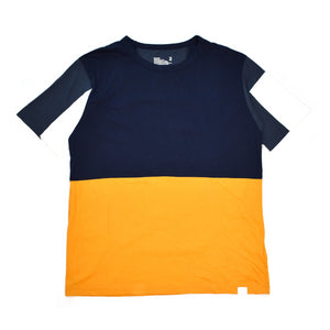 White Mountaineering - Navy & Orange Color Block T-Shirt