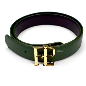 Faure Le Page - Gold FLP Logo Reversible Belt (Green/Black)
