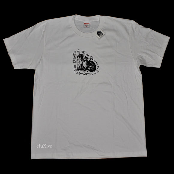 Supreme - Eat Me Logo Print Christmas T-Shirt (White)
