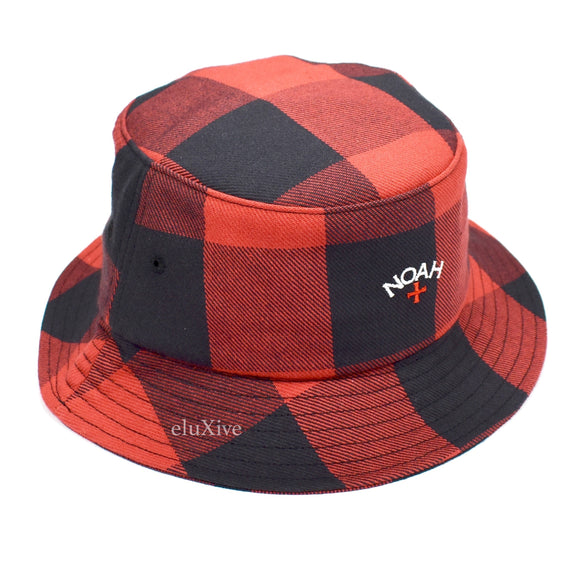 Noah - Red Buffalo Plaid Core Logo Bucket Hat