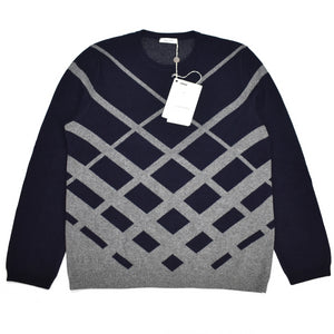 Valentino - Navy Jacuqard Knit Wool Sweater