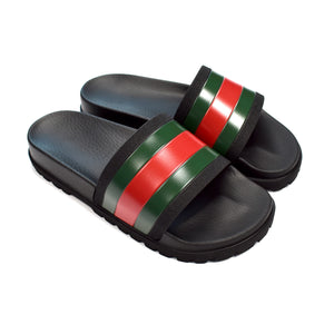 1528d6227452 Gucci - Web Stripe Logo Black Rubber Slide Flip Flop Trek Sandals ...