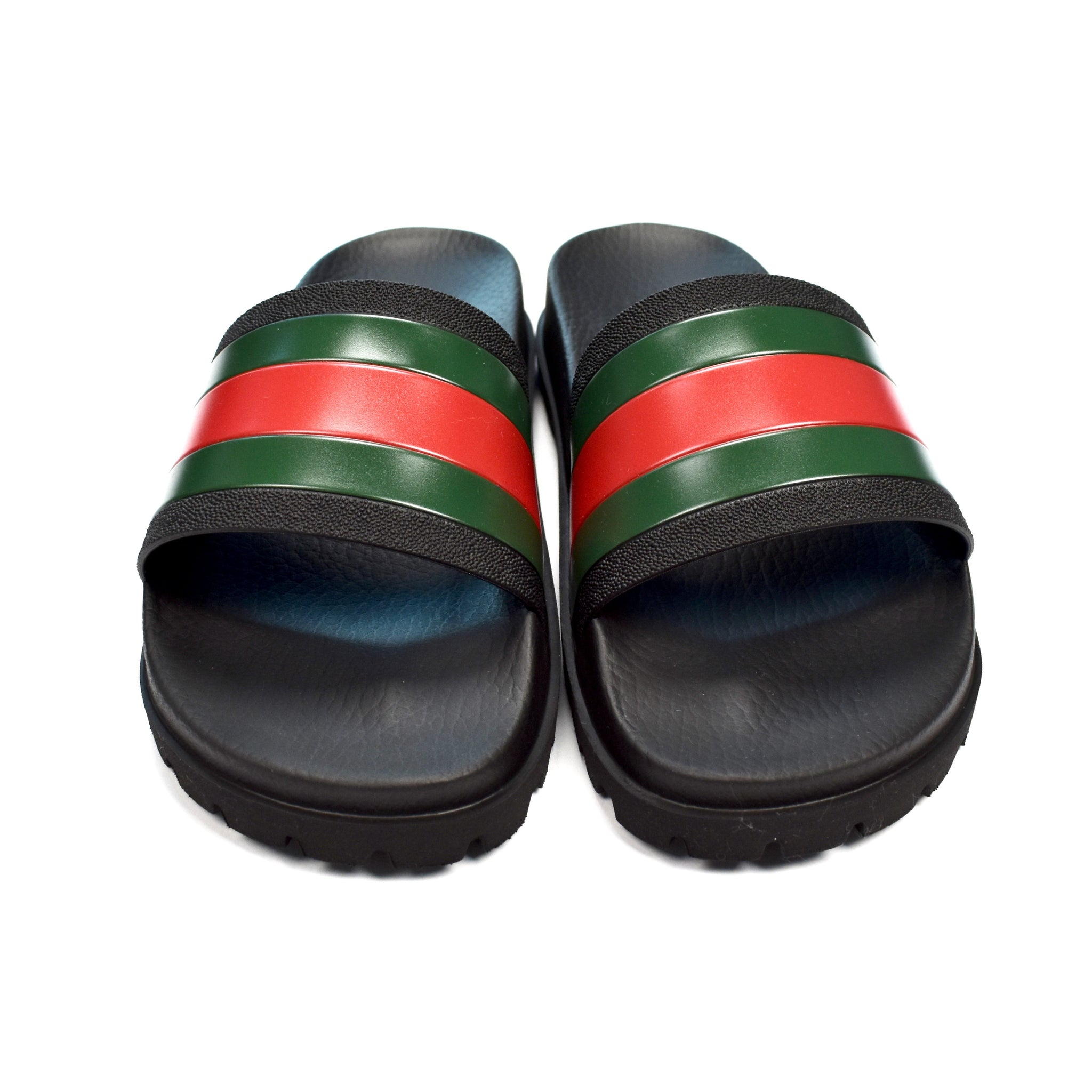 Gucci - Black Web Stripe Slide Sandals