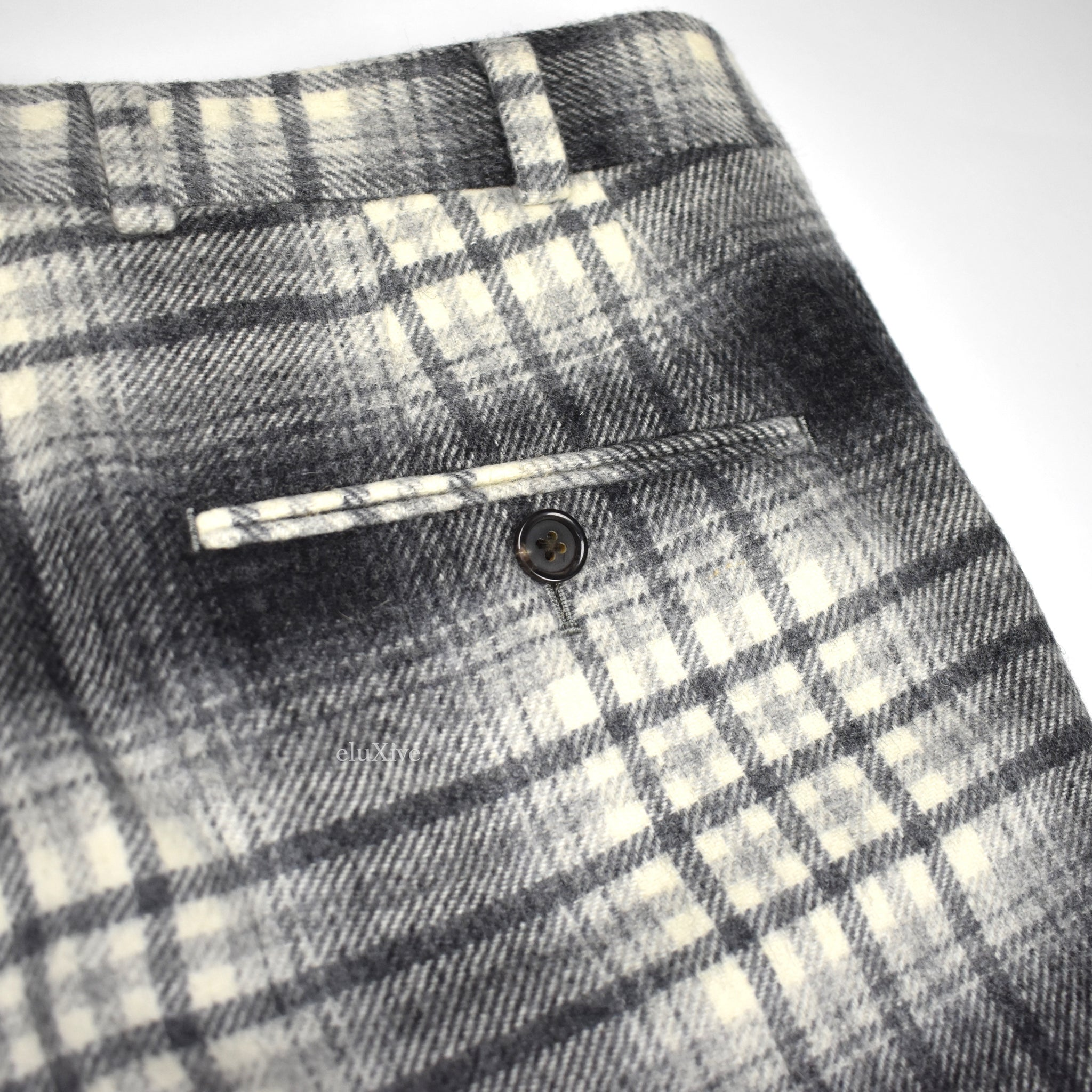 Black Fleece - Gray / White Plaid Wool Pants