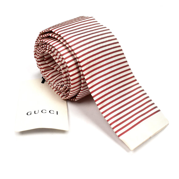 Gucci - Red & White Seersucker Tie