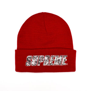 Supreme - Red Sequin Logo Beanie