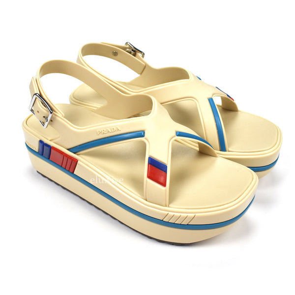 Prada - Women's Rubber Platform 'Yacht' Sandals