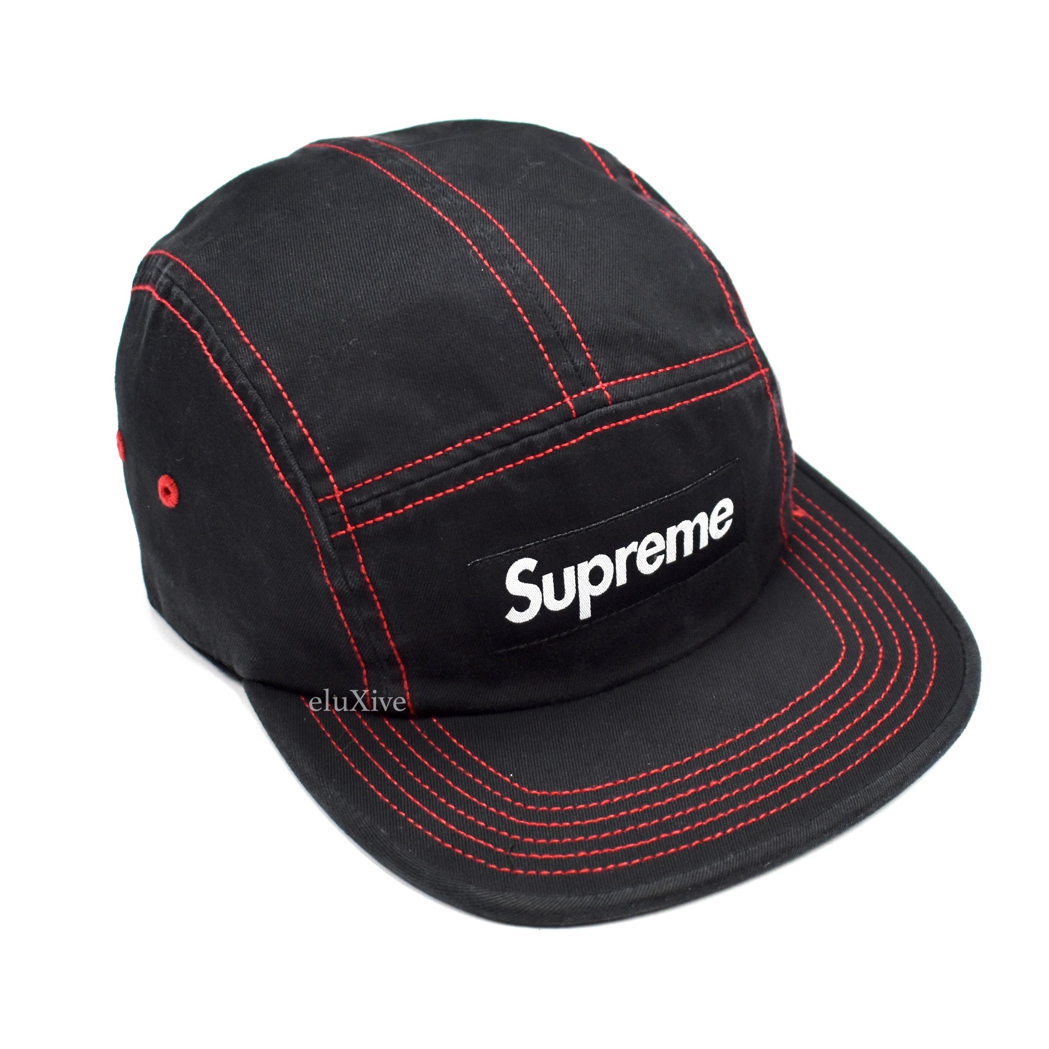 d384c66990e3 Supreme - SS18 Black Box Logo Red Contrast Stitch Camp Cap Hat – eluXive