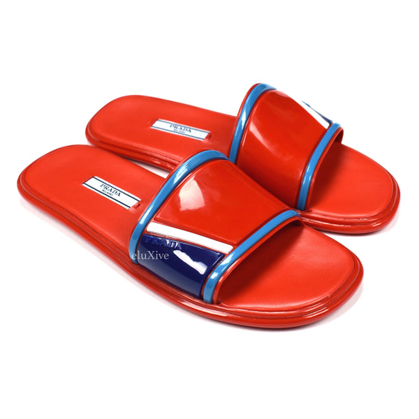 Prada - Women's Red Rubber & Leather Slides