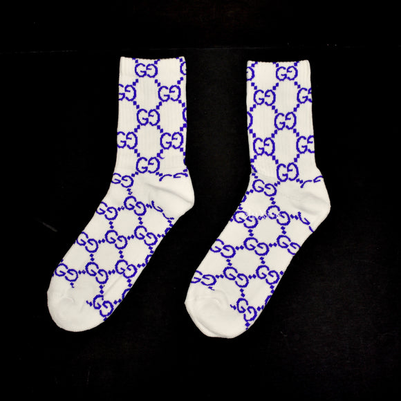Imran Potato - White/Purple 'Gucci' Logo Knit Socks